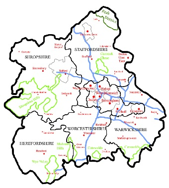 Map of Midlands